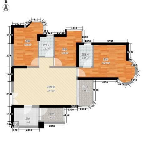 阳光花园五期3室0厅2卫1厨100.00㎡户型图