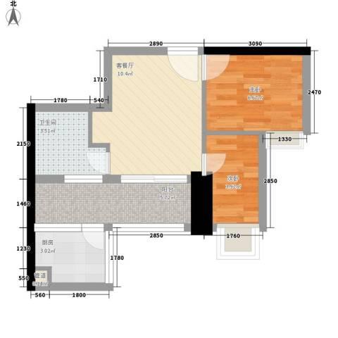 阳光花园五期2室1厅1卫1厨51.00㎡户型图