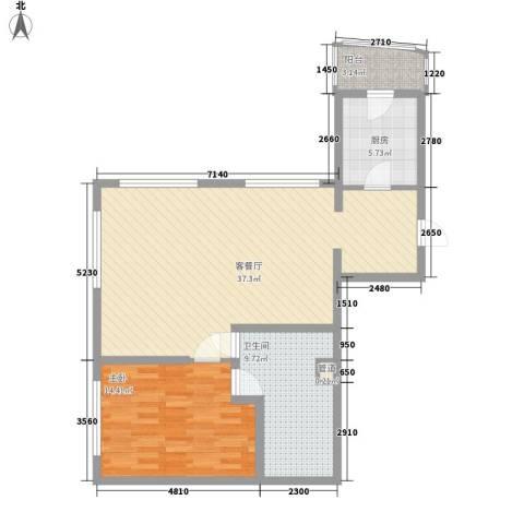 瑞苑公寓1室1厅1卫1厨99.00㎡户型图