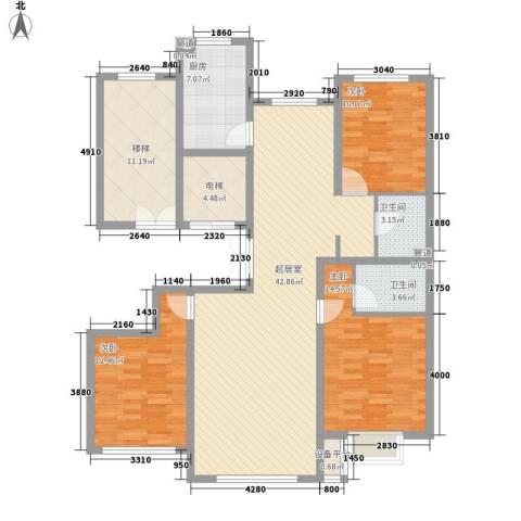 中和文化广场3室0厅2卫1厨142.00㎡户型图
