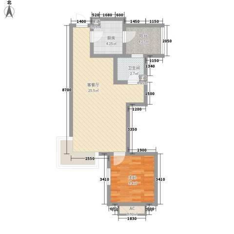 富立・秦皇半岛1室1厅1卫1厨66.00㎡户型图
