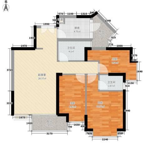 阳光花园五期3室0厅2卫1厨109.00㎡户型图