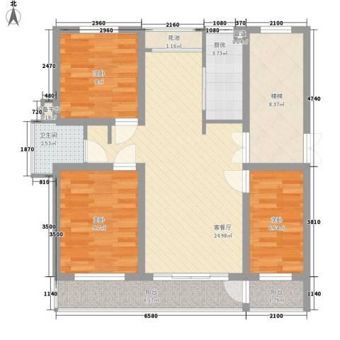 金榜华庭3室1厅1卫1厨108.00㎡户型图