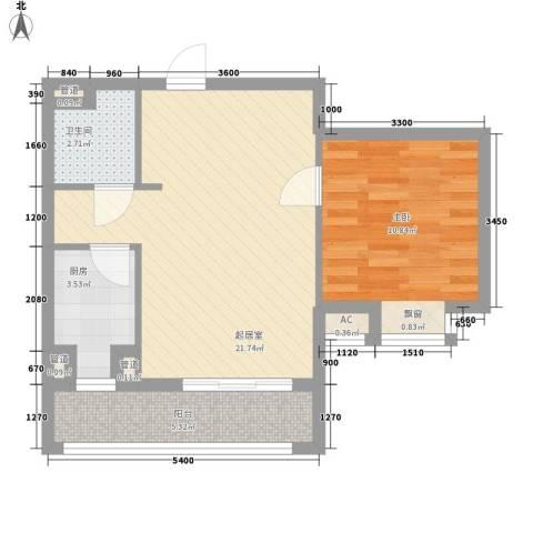 金马郦城二期1室0厅1卫1厨65.00㎡户型图