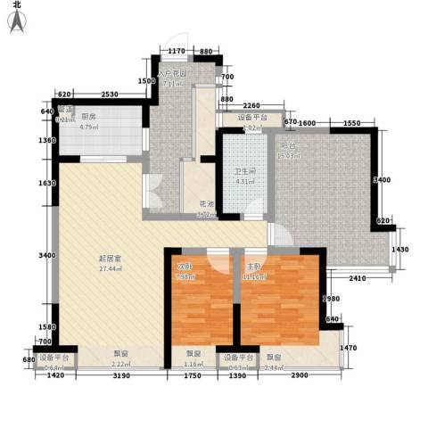 中海兰庭二期2室0厅1卫1厨105.00㎡户型图