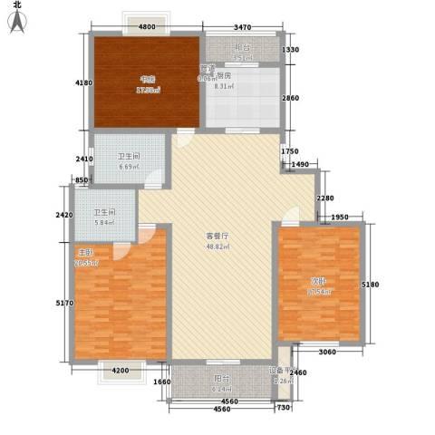 森海豪庭3室1厅2卫1厨192.00㎡户型图