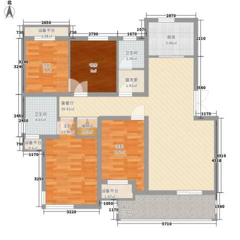 森海豪庭4室1厅2卫1厨135.00㎡户型图