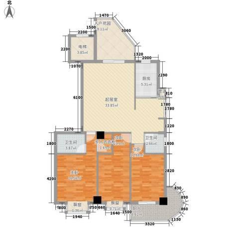 新城海世界3室0厅2卫1厨132.00㎡户型图