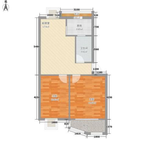 怡静园2室0厅1卫1厨76.00㎡户型图