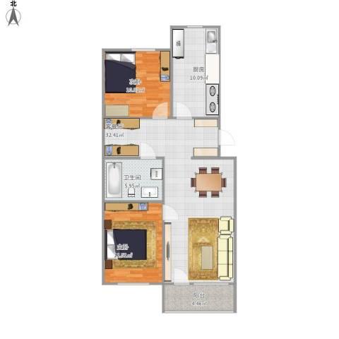 龙跃苑东四区2室1厅1卫1厨101.00㎡户型图