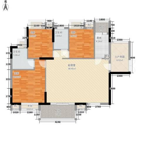 康怡花园4期3室0厅2卫1厨125.00㎡户型图
