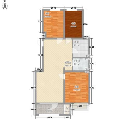保利香槟国际3室0厅1卫1厨109.00㎡户型图