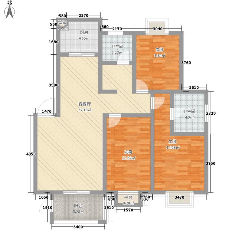 中港雅典城13.00㎡户型3室2厅2卫1厨