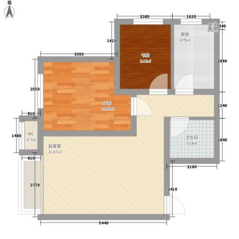 保利香槟国际2室0厅1卫1厨65.00㎡户型图