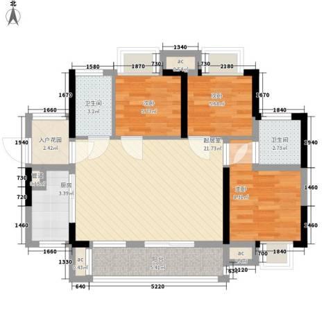 KPR佳兆业广场3室0厅2卫1厨91.00㎡户型图
