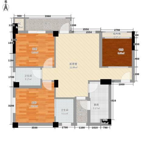 南晶国际南庭3室0厅2卫1厨76.00㎡户型图