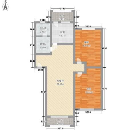 扬州水乡别墅2室1厅1卫1厨106.00㎡户型图