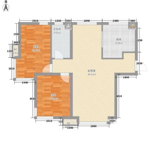 海韵花园2室0厅1卫1厨106.00㎡户型图