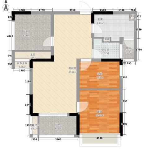 招商小石城别墅2室0厅1卫1厨107.00㎡户型图