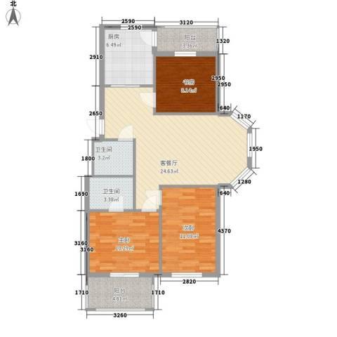 北岸明珠3室1厅2卫1厨95.00㎡户型图