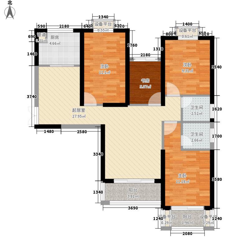 世茂上游墅120.00㎡A2户型4室2厅2卫1厨