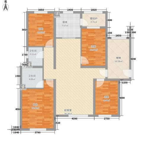 珠江国际城别墅4室0厅2卫1厨131.00㎡户型图
