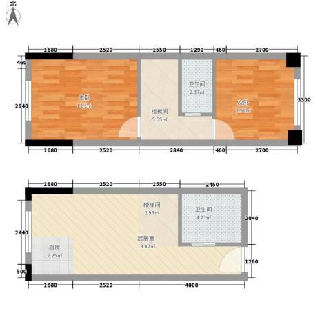 筑石银座2室0厅2卫0厨53.01㎡户型图