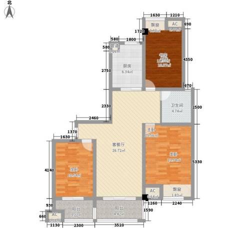 鸿益千秋3室1厅1卫1厨124.00㎡户型图