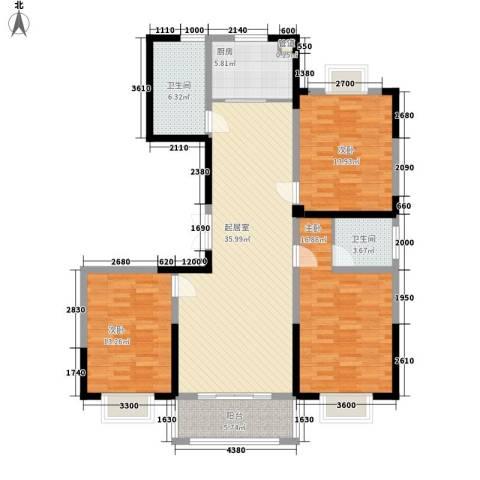 绿润名都3室0厅2卫1厨137.00㎡户型图