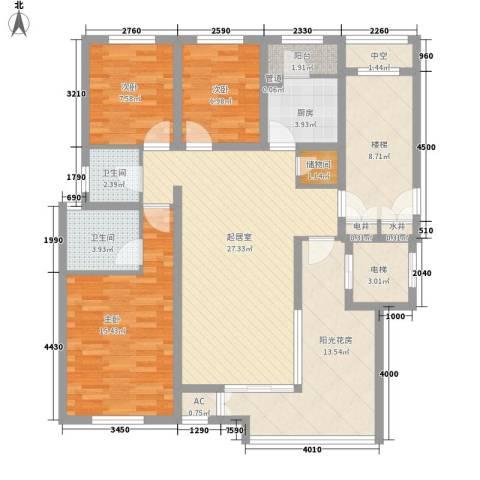 珠江国际城别墅3室0厅2卫1厨145.00㎡户型图