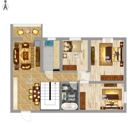 大唐壹号6号楼顶层3室1厅1卫1厨98.00㎡户型图