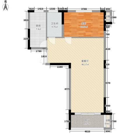 乐客来国际商业中心1室1厅1卫1厨81.00㎡户型图