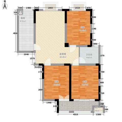 绿润名都3室0厅1卫1厨120.00㎡户型图