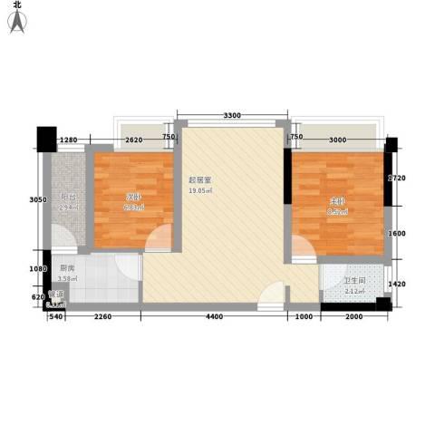 润扬广场2室0厅1卫1厨64.00㎡户型图