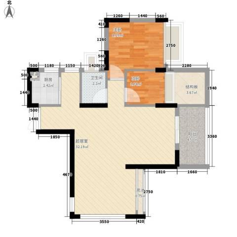 劲力城市明珠三期2室0厅1卫1厨84.00㎡户型图