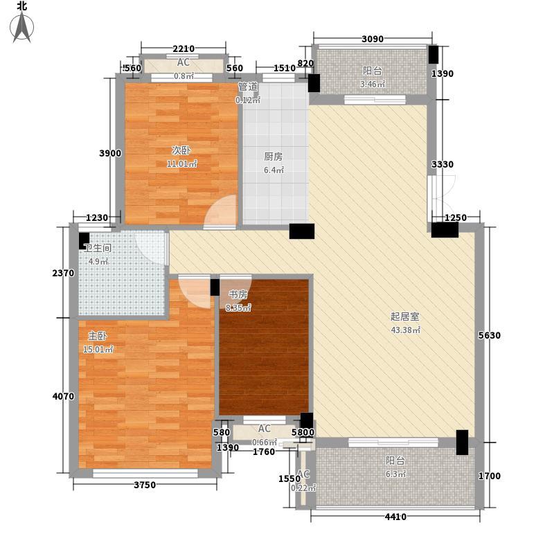 丰源淳和115.66㎡E型户型3室2厅1卫1厨