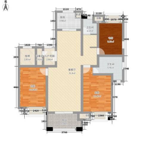 富民花园3室1厅2卫1厨87.58㎡户型图
