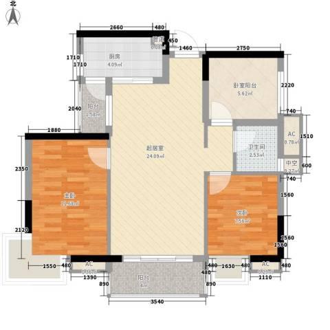 海逸・锦绣公馆2室0厅1卫1厨92.00㎡户型图
