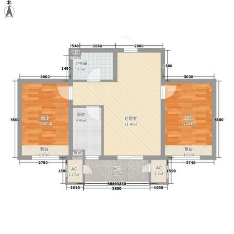 信达尚城2室0厅1卫1厨87.00㎡户型图