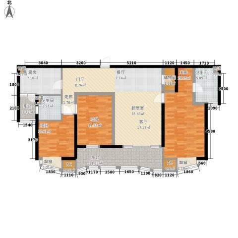 莱诗邸3室0厅2卫1厨136.00㎡户型图
