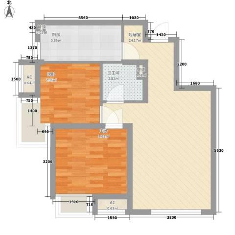 保利香槟国际2室0厅1卫1厨75.00㎡户型图
