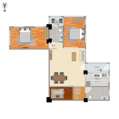 怡安花园3室1厅2卫1厨96.00㎡户型图