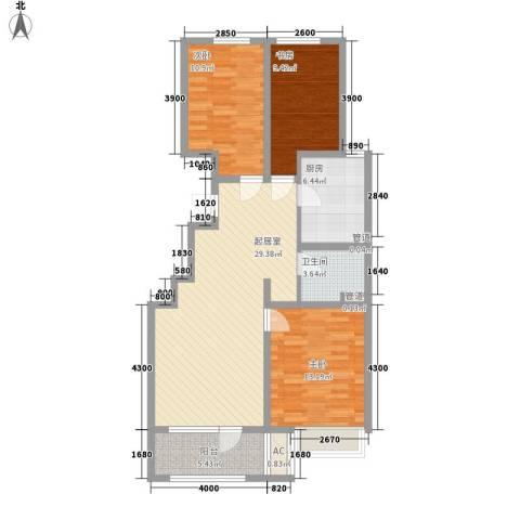 保利香槟国际3室0厅1卫1厨108.00㎡户型图