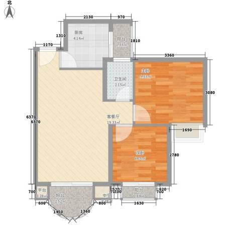 东部阳光花园2室1厅1卫1厨66.00㎡户型图