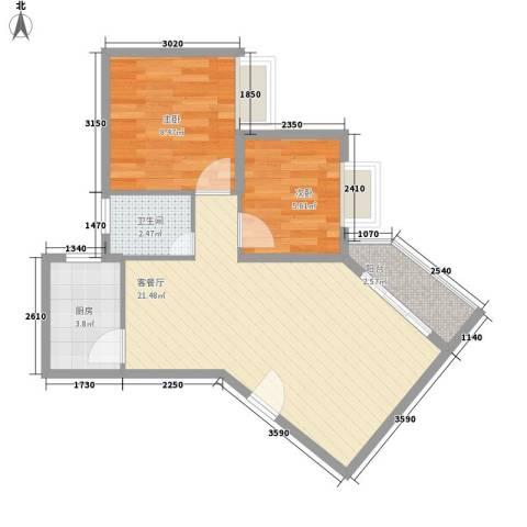 东部阳光花园2室1厅1卫1厨63.00㎡户型图