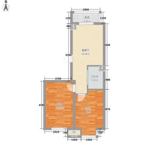 金都花园2室1厅1卫1厨65.00㎡户型图