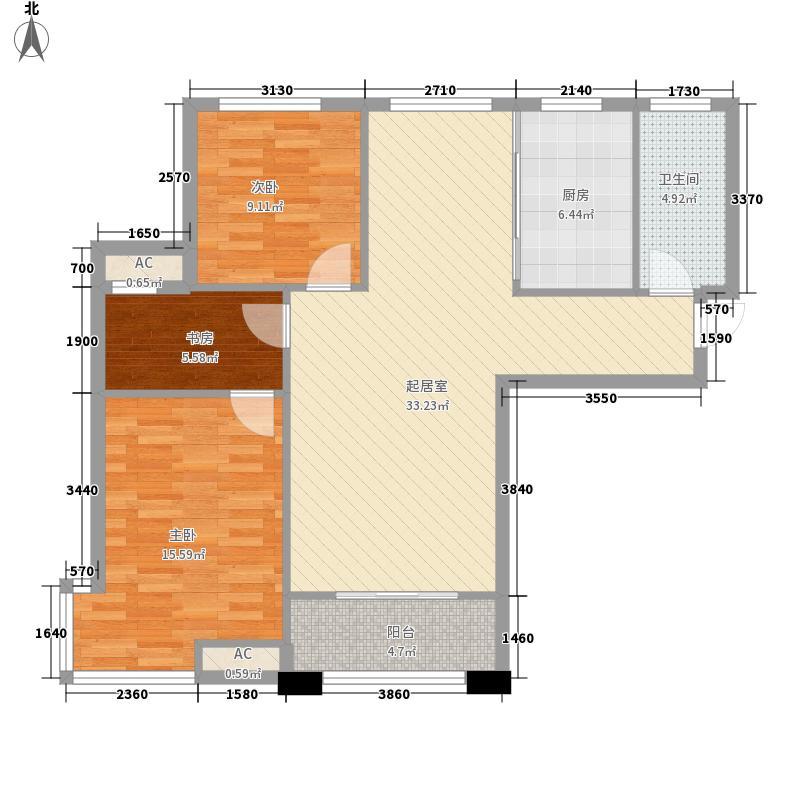 苏豪名邸113.00㎡三期9#楼007户型3室2厅1卫1厨