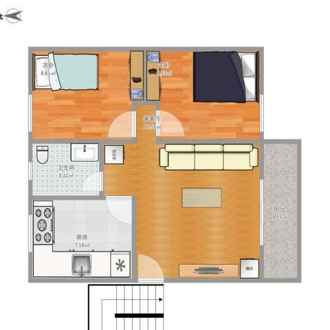 华园新村2室1厅1卫1厨67.00㎡户型图