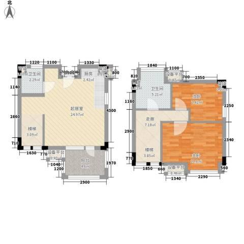 黄山纳尼亚小镇2室0厅2卫0厨92.00㎡户型图