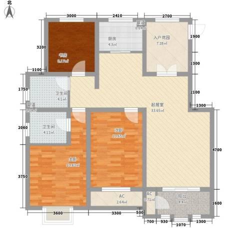 信达尚城3室0厅2卫1厨120.00㎡户型图